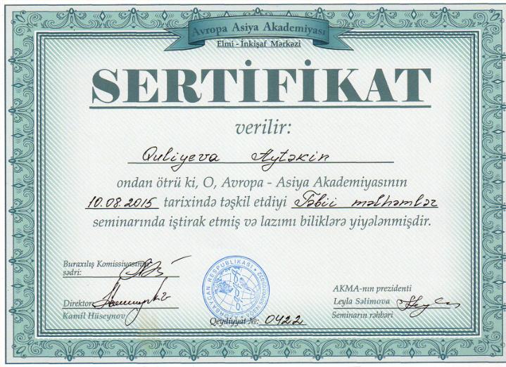 Dimplomlar və sertifikatlar Aytəkin  Quliyeva hekimtap.az