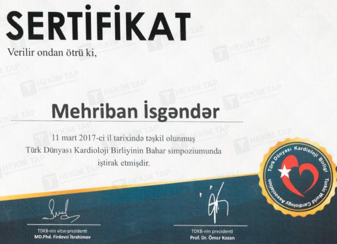 Dimplomlar və sertifikatlar Mehriban İsgəndər hekimtap.az