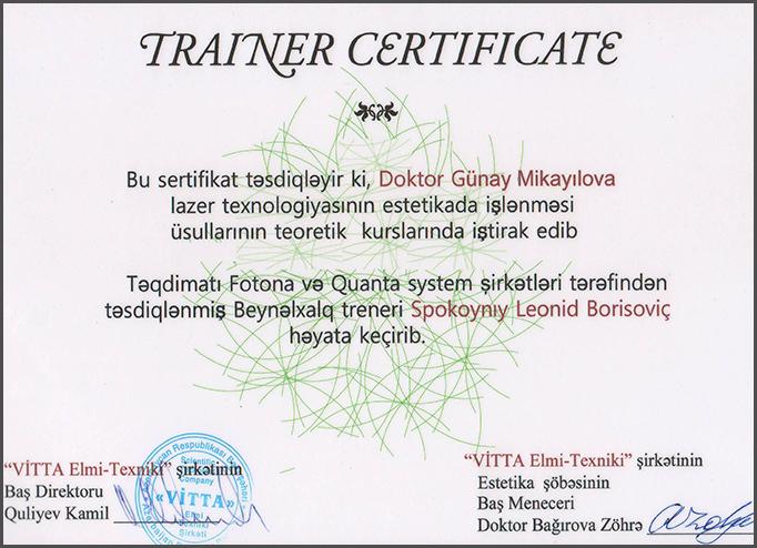 Dimplomlar və sertifikatlar Günay Mikayılova hekimtap.az