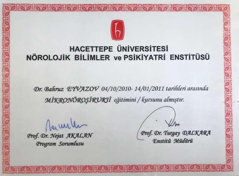 Dimplomlar və sertifikatlar Bəhruz Eyvazov hekimtap.az
