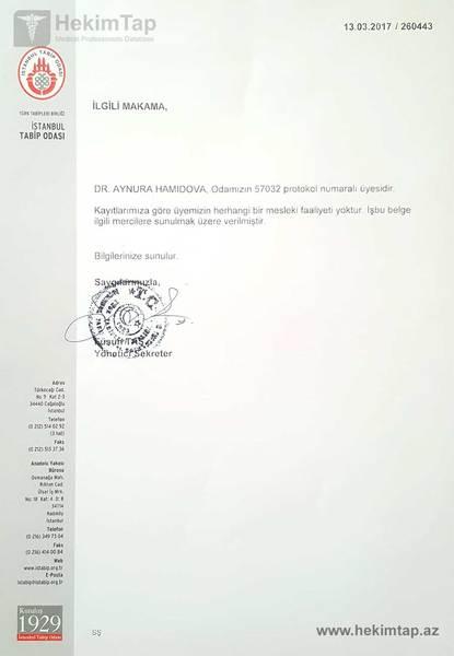 Dimplomlar və sertifikatlar uzman mama-ginekoloq aynurə həmidova