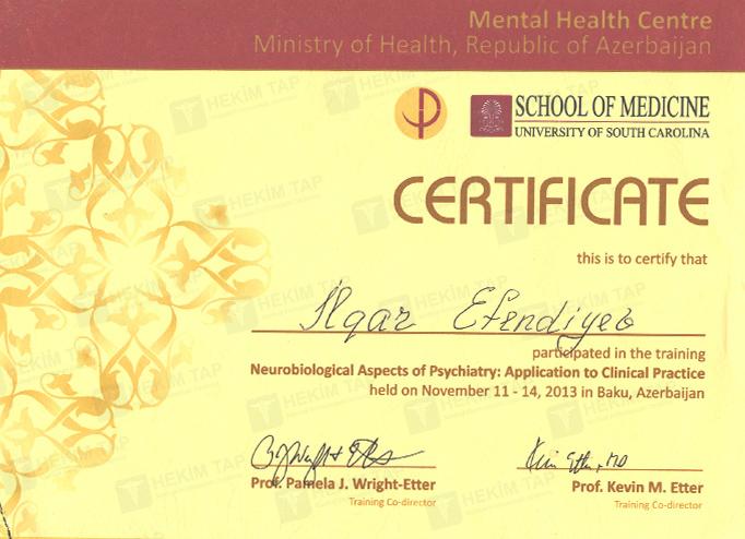 Diplomas and Certificates Ilqar  Efendiyev hekimtap.az