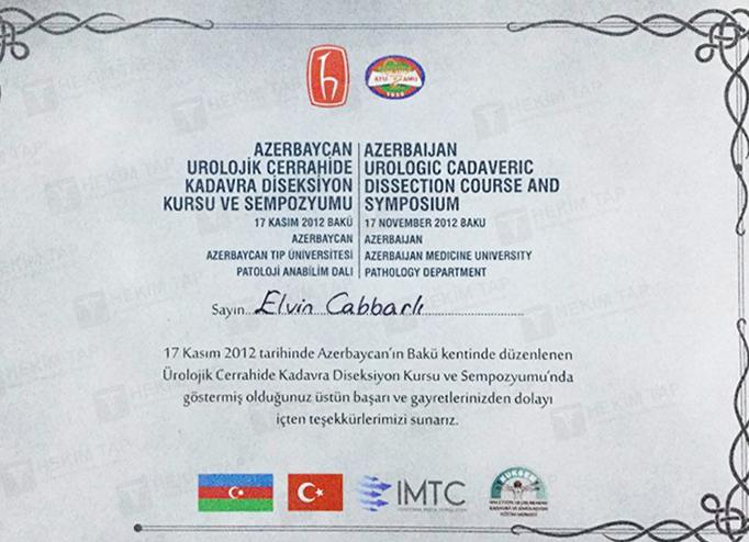 Dimplomlar və sertifikatlar Elvin Cabbarlı hekimtap.az