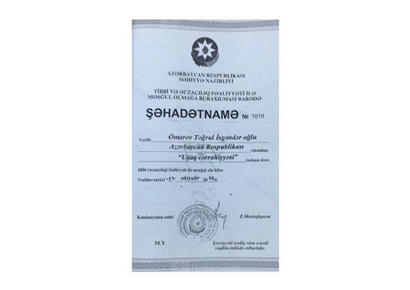 Diplomas and Certificates Togrul  Omerov hekimtap.az