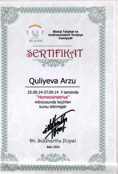 Dimplomlar və sertifikatlar Arzu Quliyeva hekimtap.az