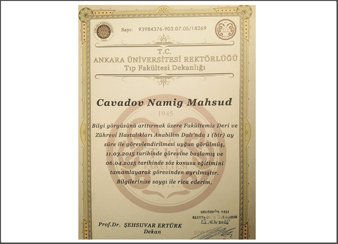 Diplomas and Certificates Namig  Javadov hekimtap.az