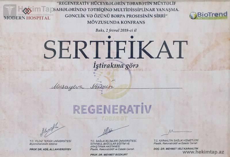 Dimplomlar və sertifikatlar Nəzmin Musayeva hekimtap.az