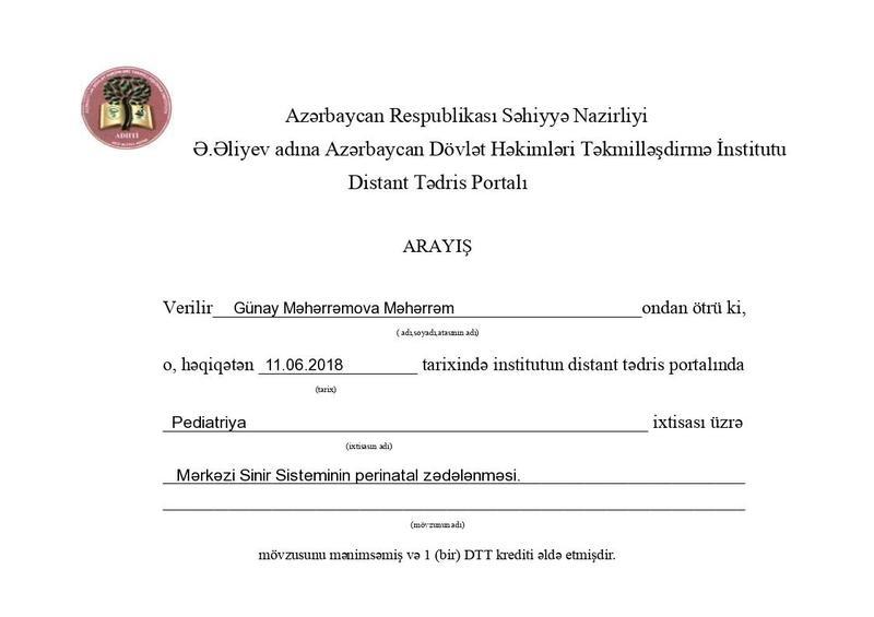 Dimplomlar və sertifikatlar Günay Məhərrəmova hekimtap.az