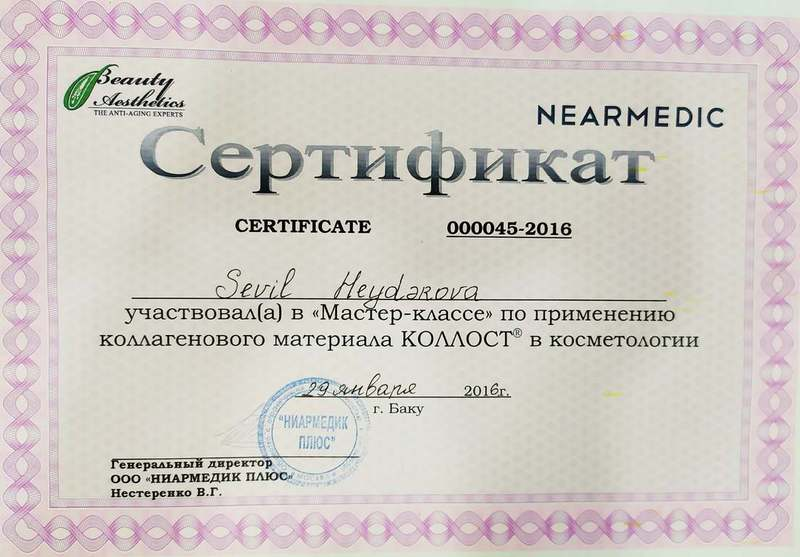 Dimplomlar və sertifikatlar Sevil Heydərova hekimtap.az
