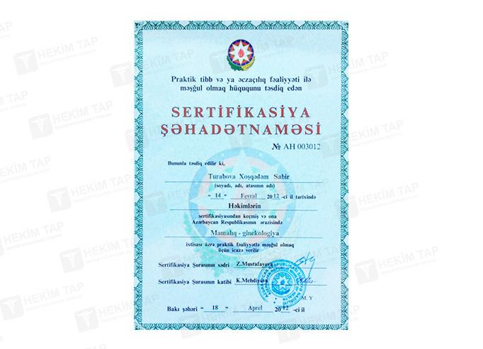 Dimplomlar və sertifikatlar Xoşqədəm Turabova  hekimtap.az