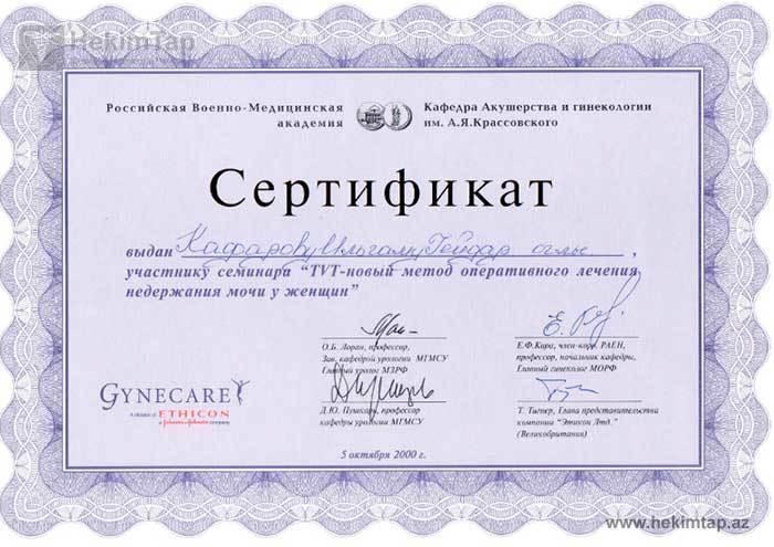 Dimplomlar və sertifikatlar mama-ginekoloq ilham qafarov