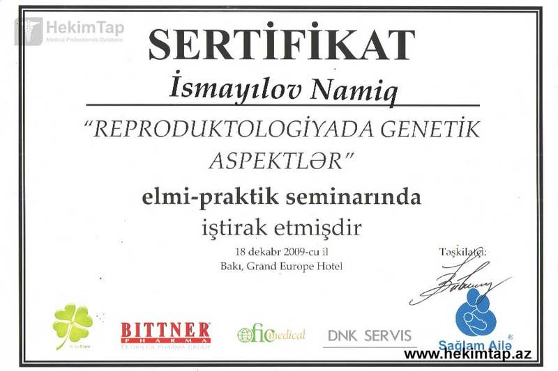 Dimplomlar və sertifikatlar Namiq İsmayılov hekimtap.az