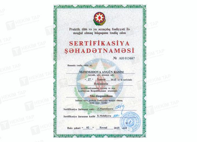 Dimplomlar və sertifikatlar Aygün Məmmədova hekimtap.az