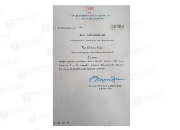Dimplomlar və sertifikatlar Araz Salmanov hekimtap.az