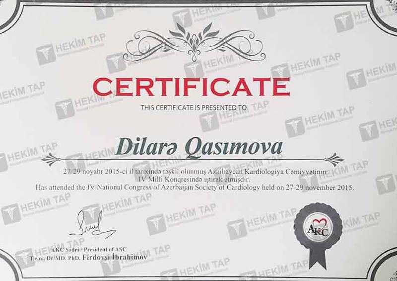 Diplomas and Certificates Dilare Sedrayeva hekimtap.az