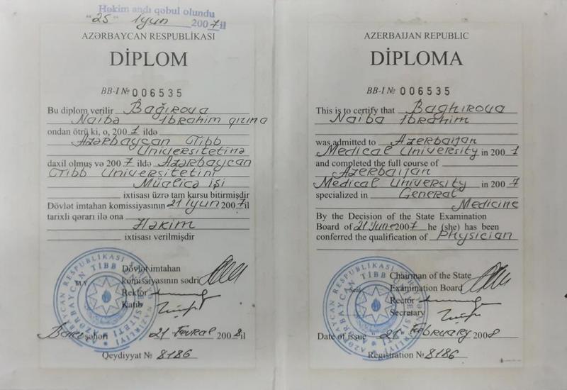 Diplomas and Certificates Naibə Bağırova hekimtap.az