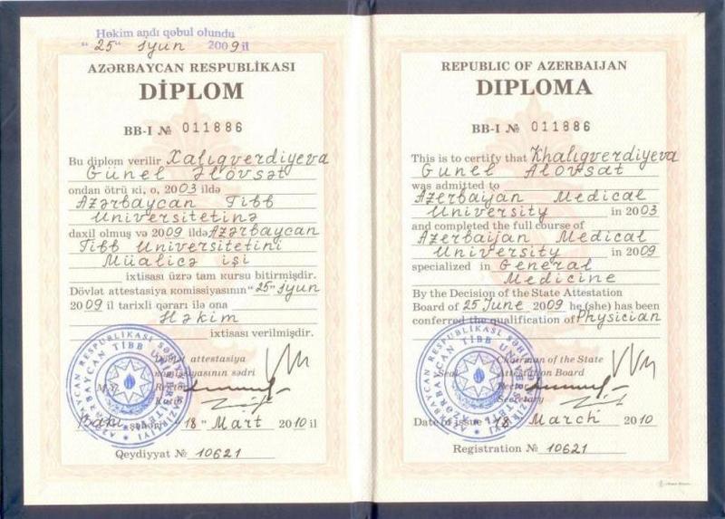 Diplomas and Certificates Gunel Khaligverdiyeva hekimtap.az