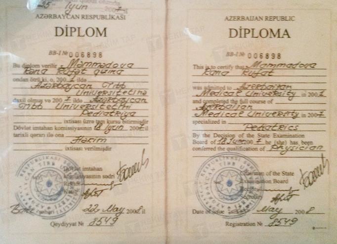 Dimplomlar və sertifikatlar Rəna  Soltanova hekimtap.az