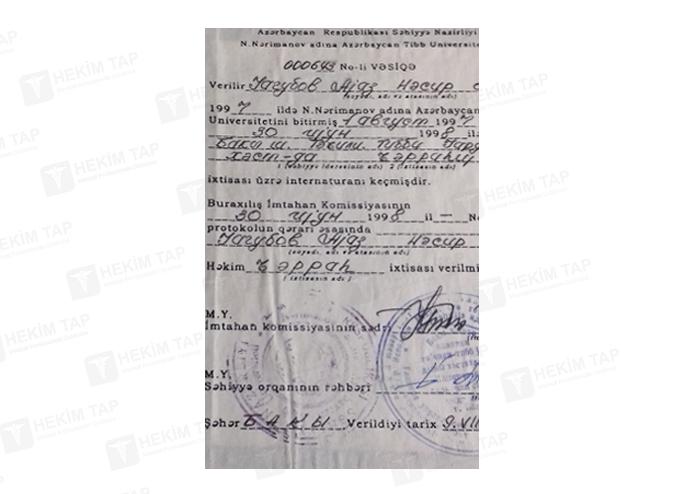 Dimplomlar və sertifikatlar Ayaz Yaqubov hekimtap.az