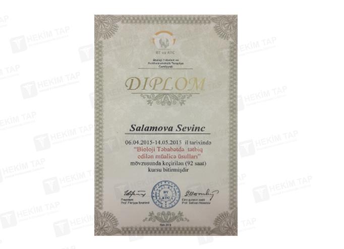 Dimplomlar və sertifikatlar Sevinc Salamova hekimtap.az