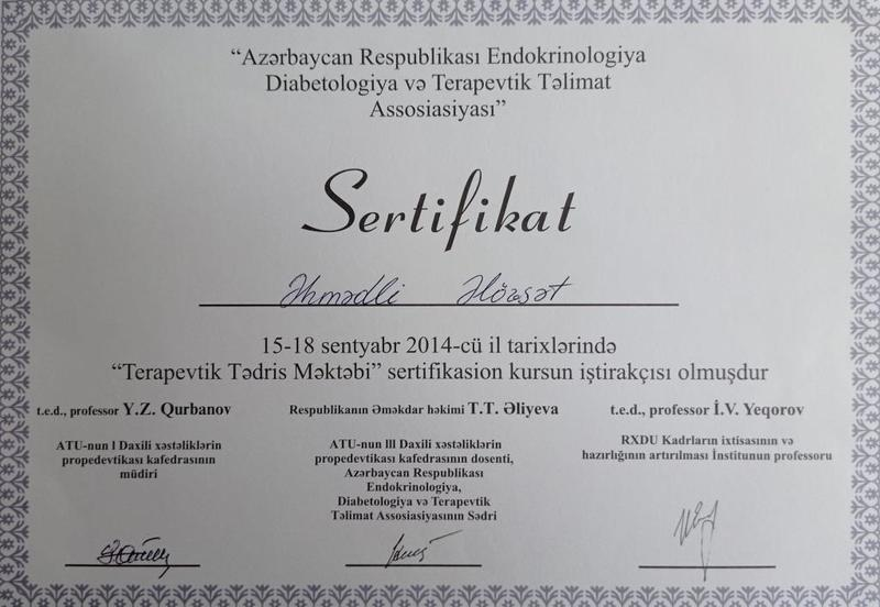 Dimplomlar və sertifikatlar Əlövsət Əhmədli hekimtap.az