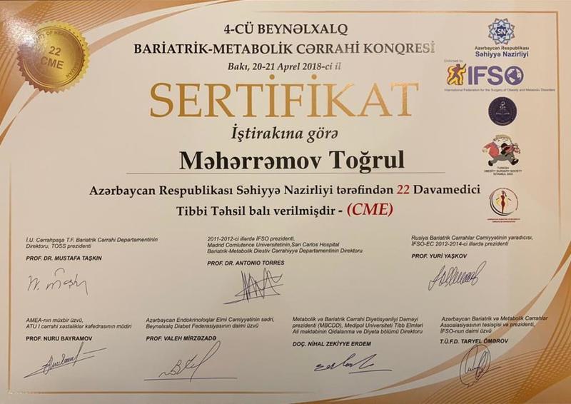 Dimplomlar və sertifikatlar Toğrul Məhərrəmov hekimtap.az