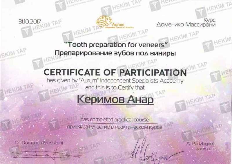 Dimplomlar və sertifikatlar Anar Kerim hekimtap.az