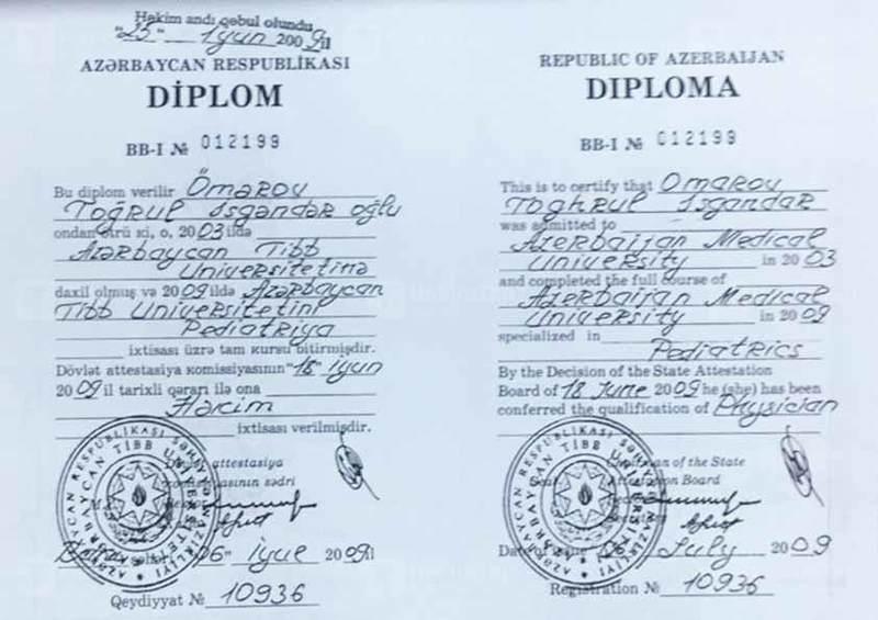 Дипломы и сертификаты Тогрул  Омаров hekimtap.az