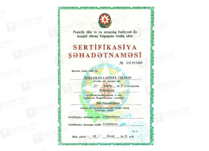 Diplomas and Certificates Konul  Ismayilova hekimtap.az