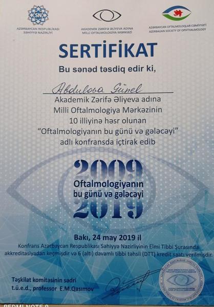 Dimplomlar və sertifikatlar Günel Abdulova hekimtap.az
