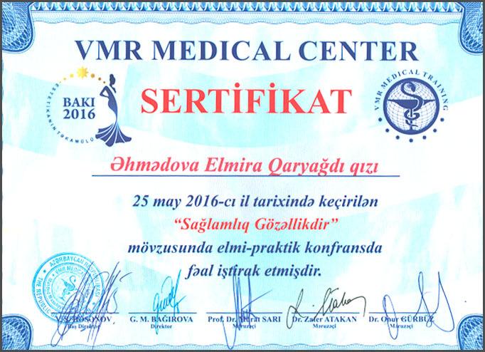 Dimplomlar və sertifikatlar Elmira Əhmədova hekimtap.az