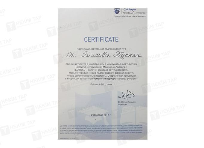 Дипломы и сертификаты Туркан  Гиясова hekimtap.az