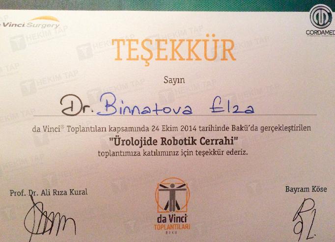 Dimplomlar və sertifikatlar Elza  Binnətova hekimtap.az