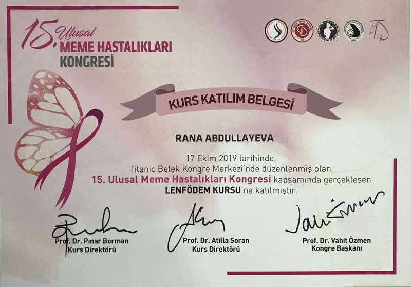 Дипломы и сертификаты Рена  Абдуллаева hekimtap.az