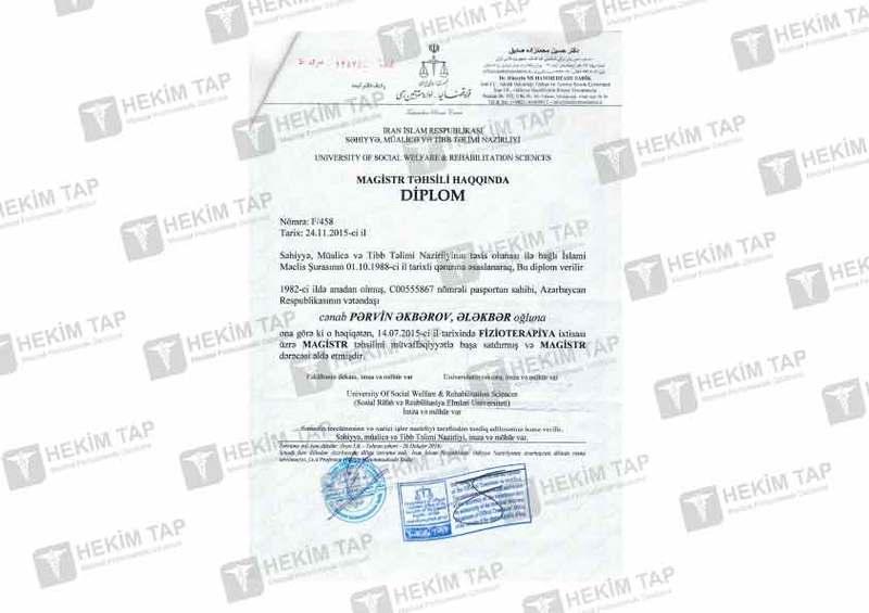 Dimplomlar və sertifikatlar Pərvin Əkbərov hekimtap.az