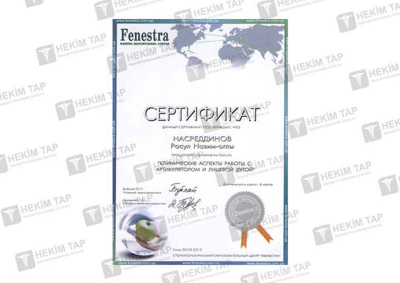 Diplomas and Certificates Resul  Nesreddinov hekimtap.az