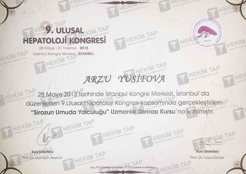Dimplomlar və sertifikatlar Arzu Yusifova hekimtap.az