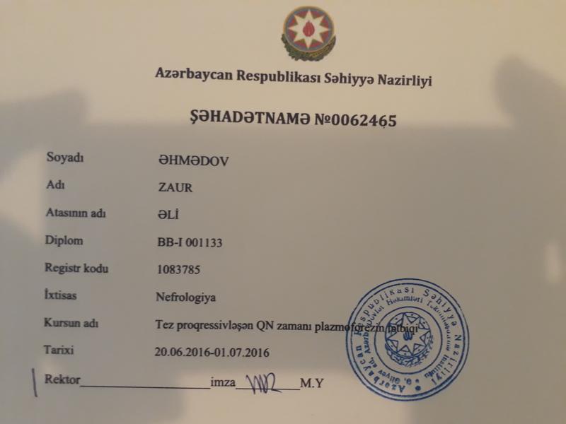 Dimplomlar və sertifikatlar Zaur Əhmədov hekimtap.az