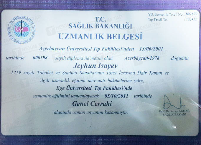 Dimplomlar və sertifikatlar Ceyhun İsayev hekimtap.az