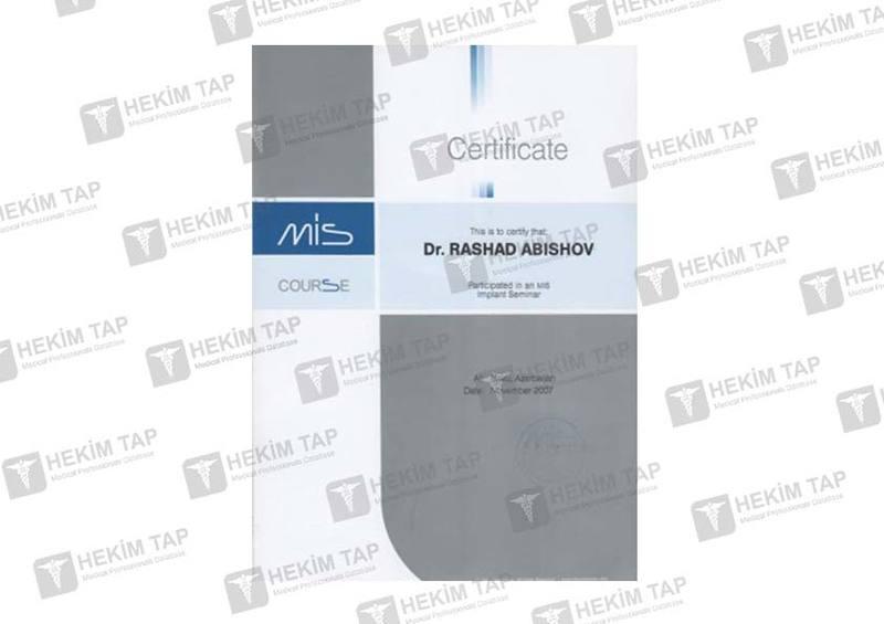 Dimplomlar və sertifikatlar Rəşad Abışov  hekimtap.az