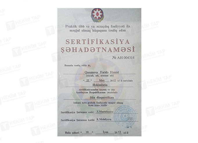 Diplomas and Certificates Feride  Qasimova hekimtap.az