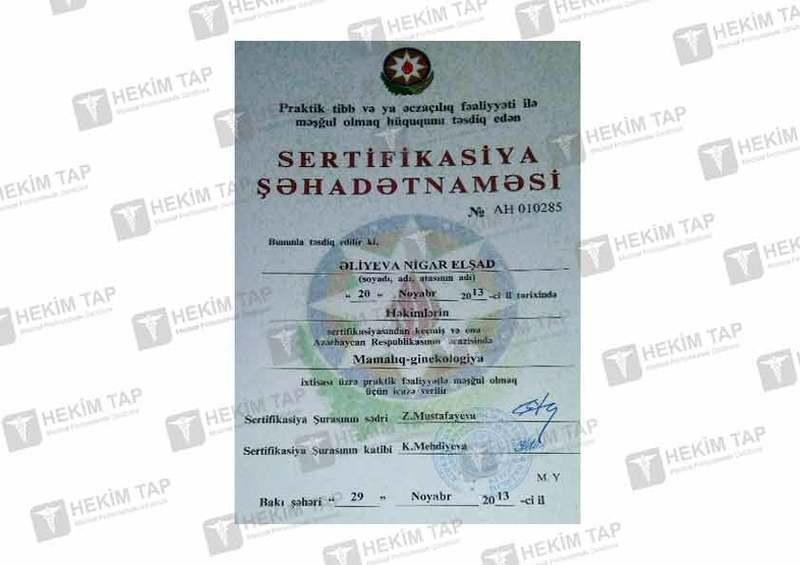 Dimplomlar və sertifikatlar Nigar Əliyeva hekimtap.az