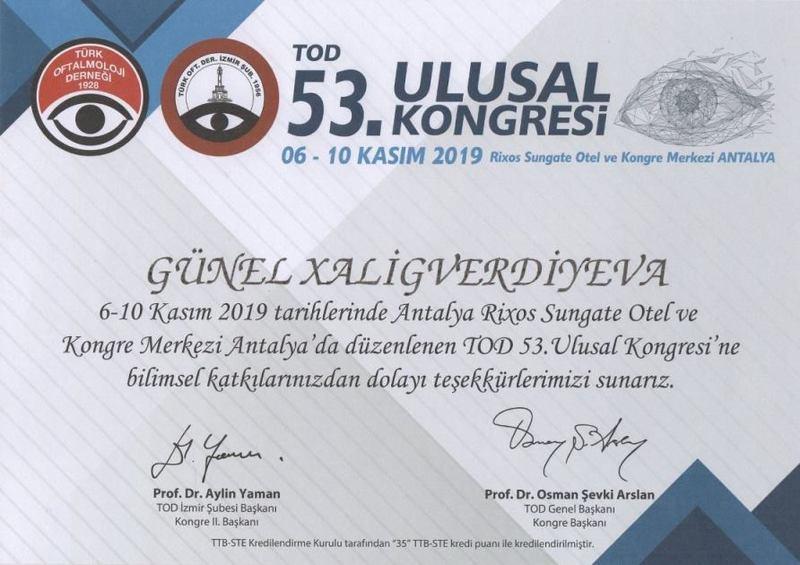 Dimplomlar və sertifikatlar Günel Xalıqverdiyeva hekimtap.az