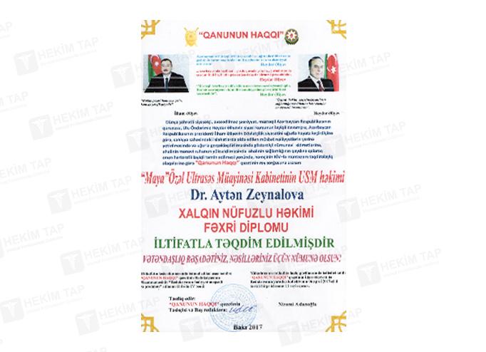 Diplomas and Certificates Ayten  Zeynalova hekimtap.az