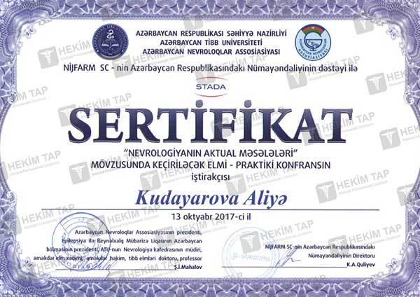 Dimplomlar və sertifikatlar Aliyə Kudayarova  hekimtap.az