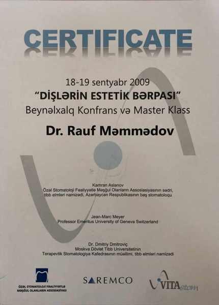 Dimplomlar və sertifikatlar Rauf Məmmədov hekimtap.az