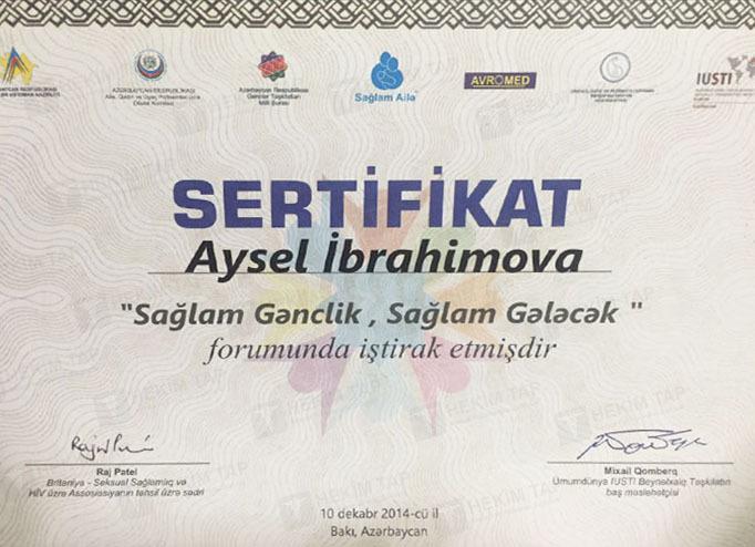 Dimplomlar və sertifikatlar Aysel İbrahimova hekimtap.az