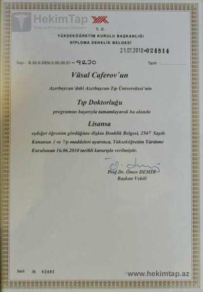 Diplomas and Certificates Vusal  Jafarov hekimtap.az