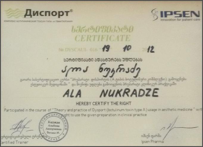 Dimplomlar və sertifikatlar Alla Nukradze hekimtap.az