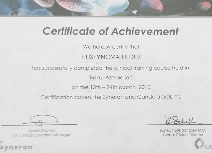 Dimplomlar və sertifikatlar Ulduz Hüseynova hekimtap.az